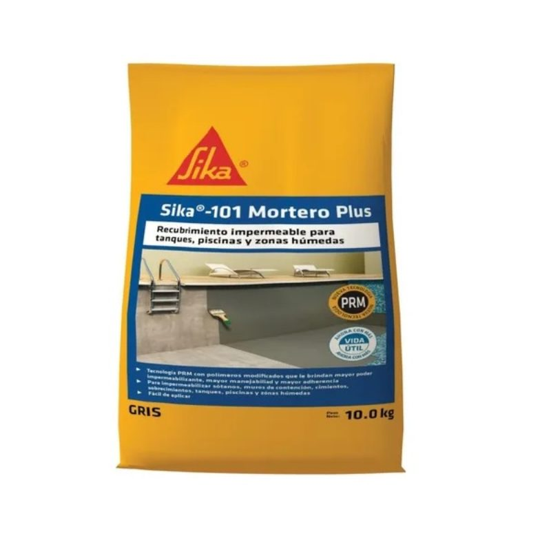 Sika 101 Mortero Plus Recubrimiento Impermeable Gris 10 kg Sika