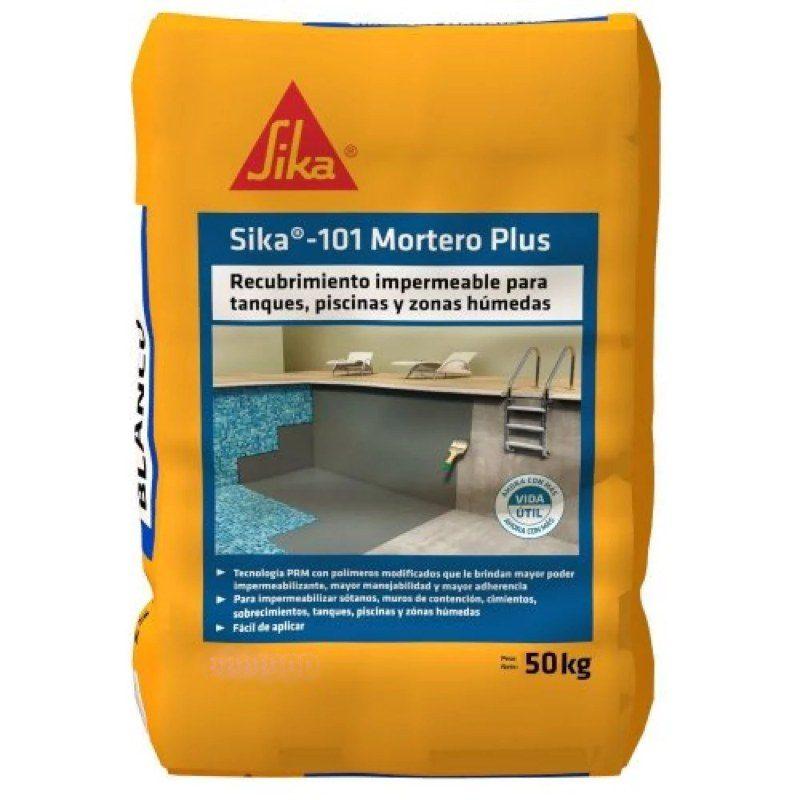 Sika 101 Mortero Plus Recubrimiento Impermeable Gris x 50 kg Sika
